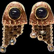 Renoir Style Copper and Brass Mixed Metal Black Stone Dangle Mesh Pierced Earrings