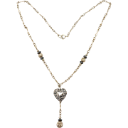 Sterling Silver Stamped Heart and Filigree Bead Lariat Necklace