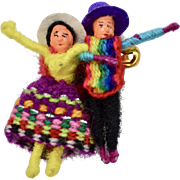 Mexican Couple Figural Yarn Wrapped Pin