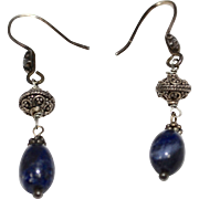 Sterling Silver Blue Sodalite Bead Filigree Dangle Earrings