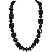 Large Painted Black Geometric Wood Bead Necklace