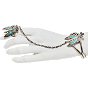 1985 Signed G & S Signed Sterling Silver over Stainless Steel Crushed Turquoise & Coral Thunderbird Slave Bracelet and Ring