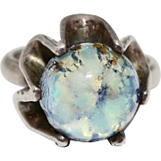 Signed JS Mexican Sterling Silver Blue Dichroic Glass Buttercup Ring