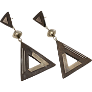 Large Sterling Silver Wood Triangle Dangle Earrings