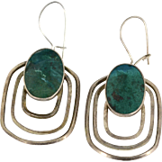 Large Sterling Silver Polished Malachite Concentric Circle Earrings