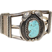 Navajo Signed J. Tulley Blue Turquoise Sterling Silver Wide Cuff Bracelet