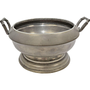 Circa 1870s Joseph Deakin & Sons Sheffield Solid Pewter Tureen or Large Serving Bowl