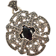 Signed Judith Jack Large Sterling Silver Marcasite & Black Onyx Pendant w/ Original Signature Pouch