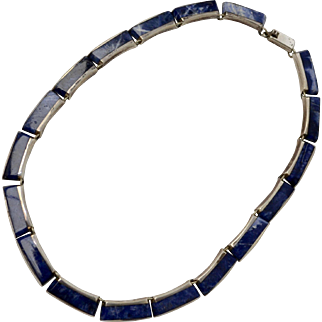 Signed Taxco Sterling Silver Lapis Lazuli Bar Link Choker Style Necklace