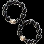 Pair of Heavy Black Onyx & Sterling Silver Bead Stretch Bracelets