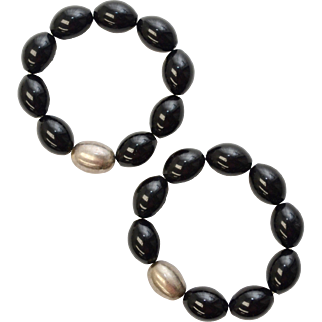 Pair of Heavy Black Onyx & Sterling Silver Bead Stretch Bracelets