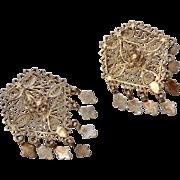 Sterling Silver Ornate Flower Filigree Dangle Earrings