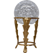 Large Paperweight/ Crystal Ball w/ Controlled Bubbles on Deco Style Brass Metal Stand