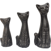 Trio of Mexican Black Clay Figural Cat Handcrafted Pottery Figurines
