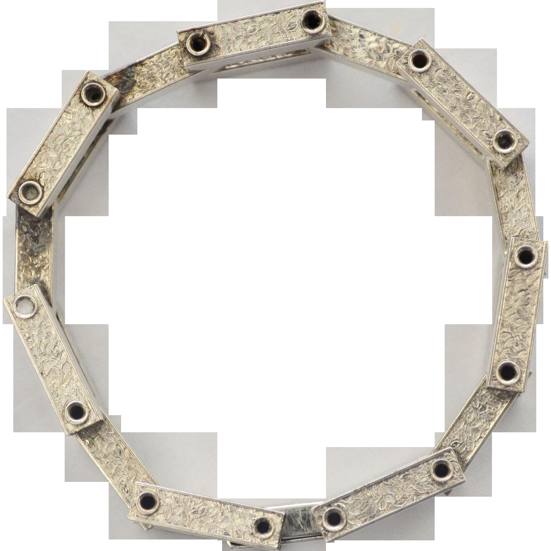 Arts & Crafts Sterling Silver Machine Age Ornately Hinged Link Bracelet