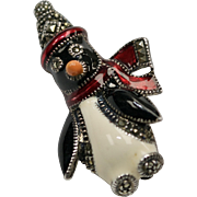 Judith Jack Signed Sterling Silver Marcasite Enameled Penguin Brooch/Pin