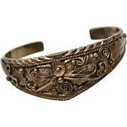 Signed Navajo Sterling Silver Cuff Bracelet w/ Ornate Hand Applied Detail