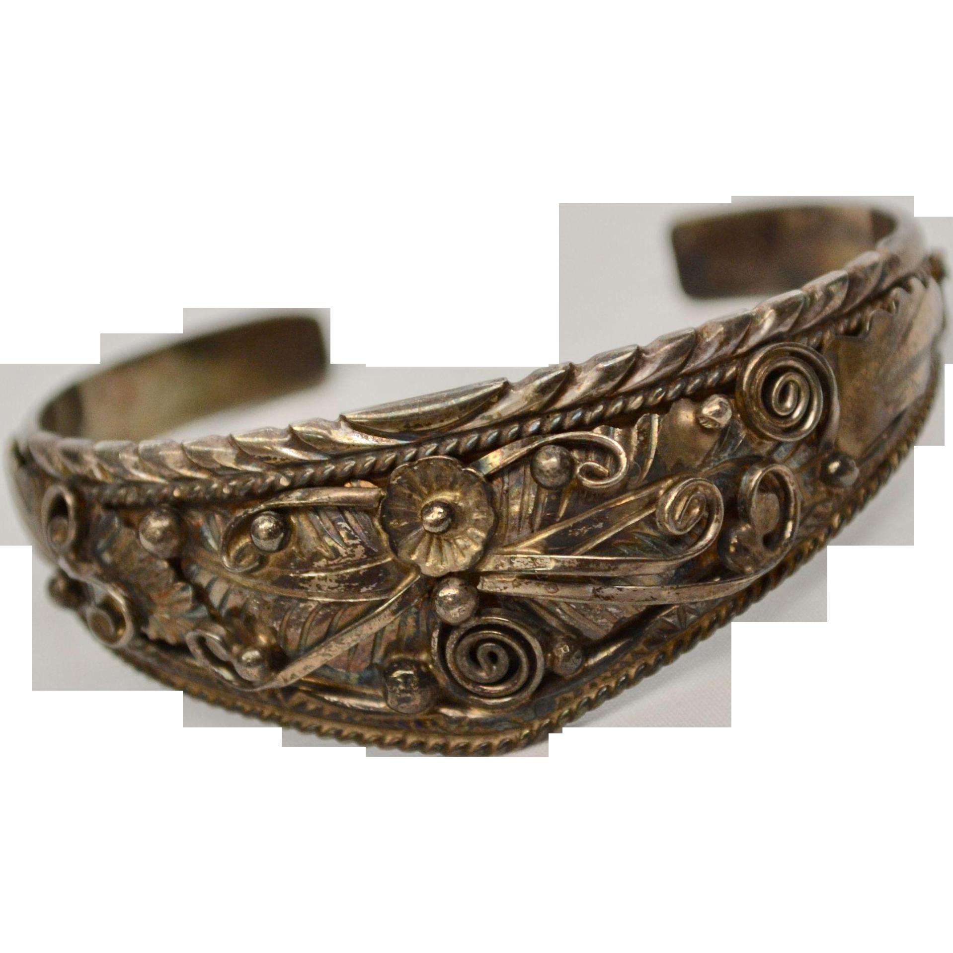 Signed Navajo Sterling Silver Cuff Bracelet w/ Ornate Hand Applied Detail