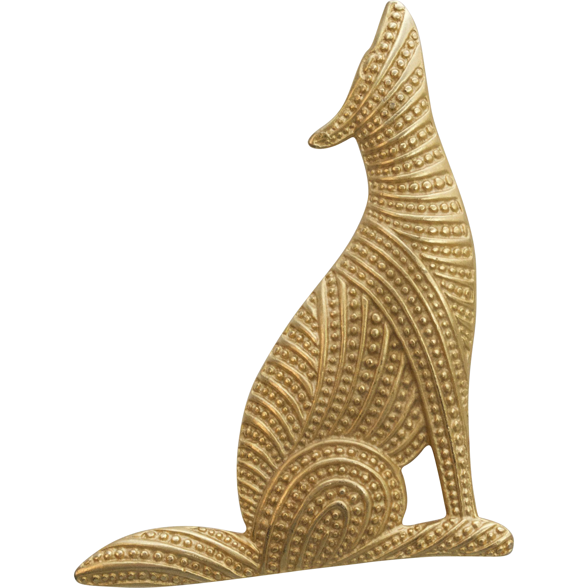 "Large 3"" Textured Goldtone Howling Coyote Wold Brooch/Pin"