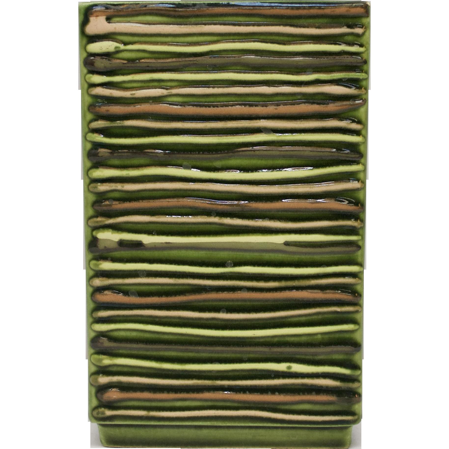Mid-Century Modern Avocado Green Handcrafted California Pottery Art Vase