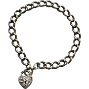 1940s Art Deco Walter Lampl Sterling Silver Ornate Heart Padlock Charm on Etched Curb Link Bracelet