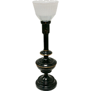 "Black with Hand-painted Bronze Accents Toleware 23"" Tall Torchiere Table Lamp w/Frosted & Faceted Glass Shade"