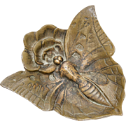 Virginia Metalcrafters Bronze Art Nouveau Butterfly and Rose Trinket Dish