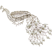 "Huge 3"" Low Grade Silver Filigree Faux White Pearl Peacock Brooch/Pin"