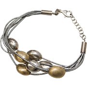 Sterling Silver Brushed Gold Bead & Silver Leather Bracelet