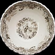 Circa 1880s Brown Transferware Floral Ceramic Scalloped Rim Bowl