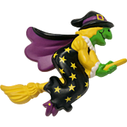 Circa 1991 Hallmark Halloween Green Witch Flying on Broom Pin