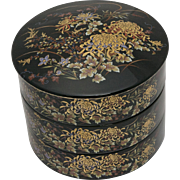 4 - Piece Japanese Black Lacquer Painted Ceramic Stackable Round Jewelry or Trinket Box