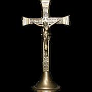 INRI Jesus of Nazareth Gold Brass Metal Religious Crucifix Cross Statue