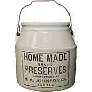 H.A. Johnson Boston Homemade Preserves Primitive Ceramic Jar with Original Lid