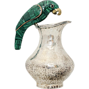 Signed Fajardo Taxco Mexico Silverplated Plateado Green Malachite & Brass Parrot Bird Handle Pitcher
