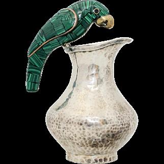 Signed Fajardo Taxco Mexico Silverplated Plateado Green Malachite & Brass Parrot Bird Handle Pitcher