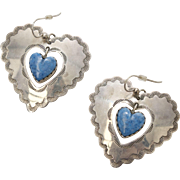 Signed Joan Slifka Designs Sterling Silver & Lapis Double Heart Dangle Pierced Earrings