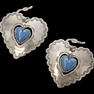 Signed Joan Slifka Designs Sterling Silver & Lapis Double Heart Dangle Pierced Earrings