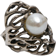 Sterling Silver Brutalist Design Genuine White Pearl Ring