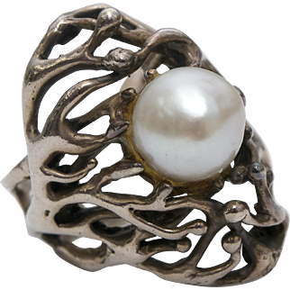Sterling Silver Brutalist Design Genuine White Pearl Ring