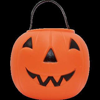1968 EMPIRE Blow Mold Plastic Orange Jack-o-Lantern Pumpkin Candy Pail Bucket