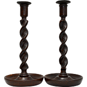 Early 1900s Barley Twist English Oak Turned Wood Paint of Taper Candle Holders