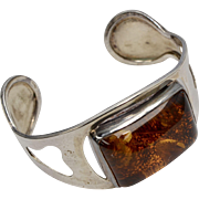 Huge Genuine Baltic Amber Sterling Silver Cuff Bracelet