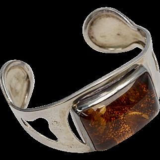Huge Genuine Baltic Amber Sterling Silver Cuff Bracelet