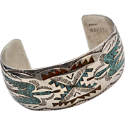 George Nakai Signed Sterling Silver Crushed Turquoise & Coral Inlay Thunderbird Navajo Cuff Bracelet