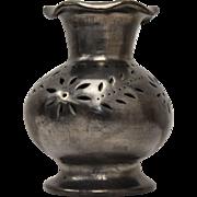Attributed to Dona Rosa Oaxacan Black Pierced Pottery Ruffled Art Vase
