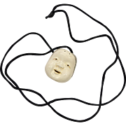 Signed Metropolitan Museum of Art MMA Japanese Mask Netsuke Pendant w/ Black Silk Cord Necklace ~ Very Good Condition
