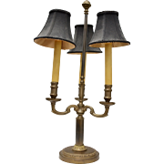 "Classic 24"" Tall Bronze  or Bronze Plated Heavy 3 Arm Candelabra Library or Table Lamp"