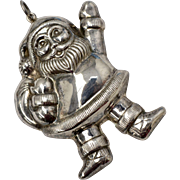 Stamped NF 925 Sterling Silver Santa Claus Large Christmas Pendant or Ornament