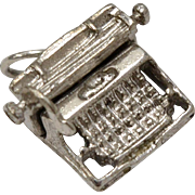 Sterling Silver Articulated Typewriter Dangle Charm